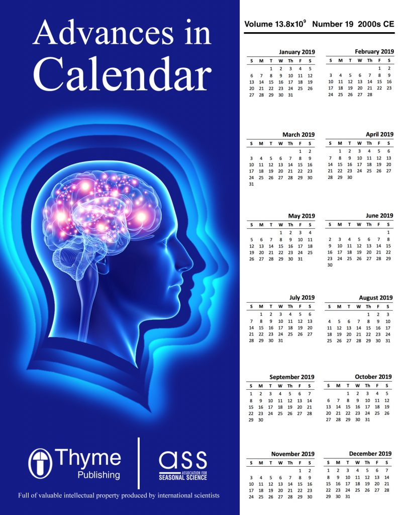 "Journal cover of ""Advances in Calendar"" by Thyme Publishing, Association for Seasonal Science. Bottom line says ""Full of valuable intellectual property produced by international scientists."""