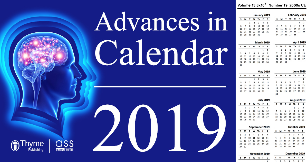 "Header saying ""Advances in Calendar 2019"" with a calendar for 2019 and galaxy brain"